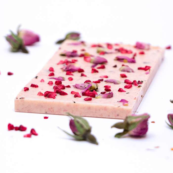 White chocolate with raspberry & rose buds 2