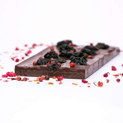 Dark Chocolate with Chilli and Dried Cheriies