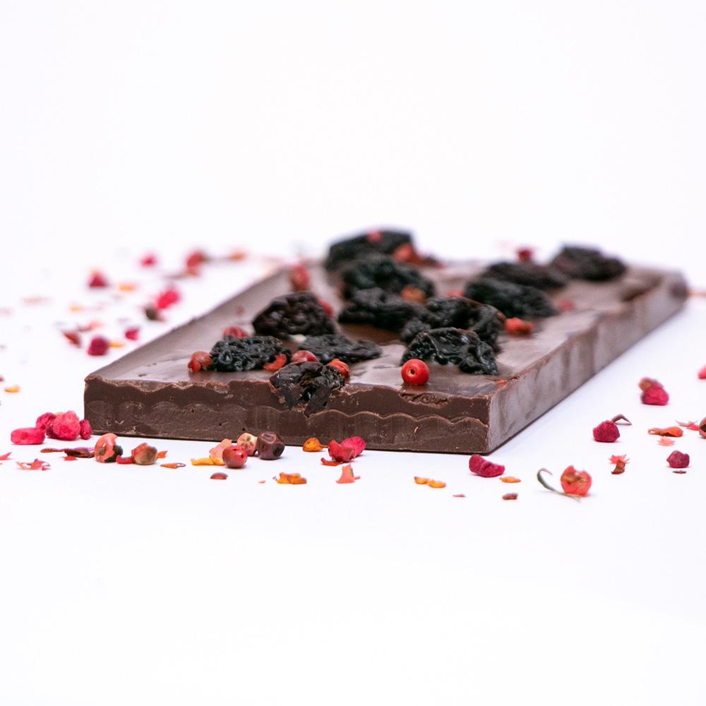 Dark Chocolate with Chilli and Dried Cheriies
