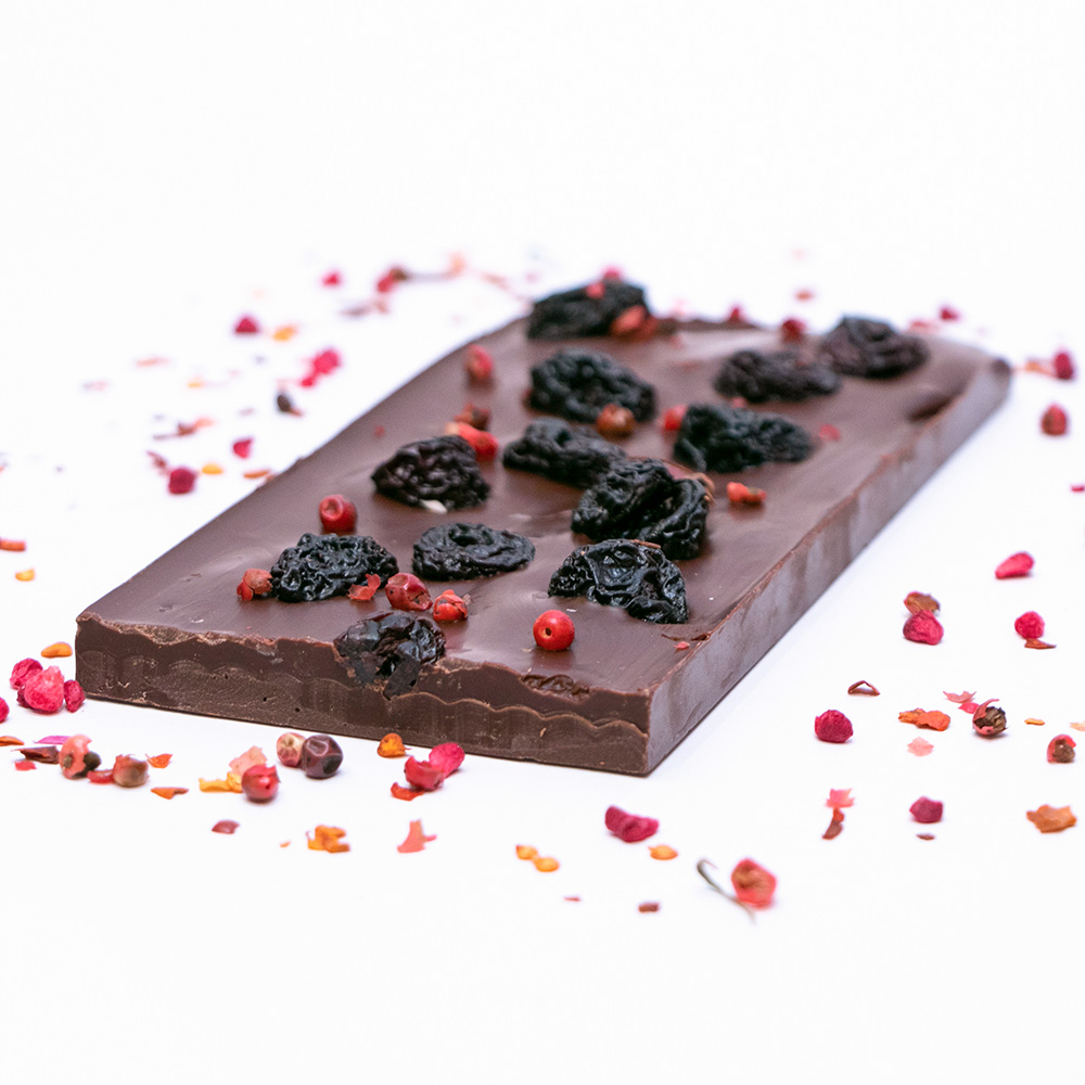 Dark Chocolate with Chilli and Dried Cheriies 2
