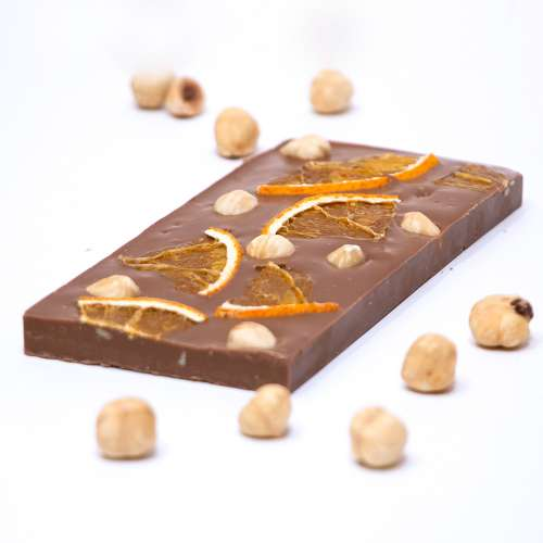 Milk Chocolate with dried orange and hazelnuts