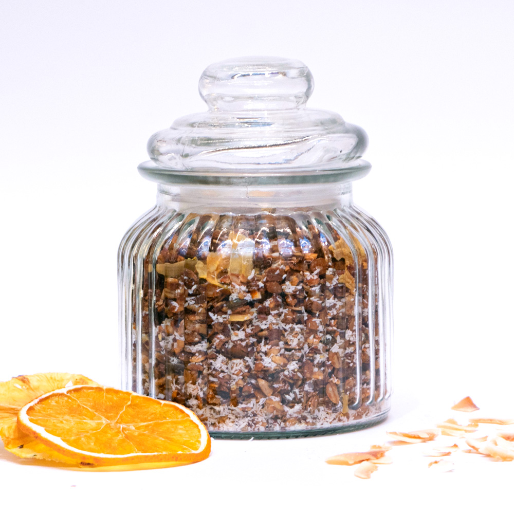 Homemade Granola with citrus and coconut